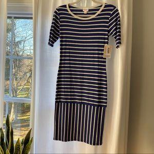 NWT LuLaRoe JULIA Dress SZ XS Blue w/Gray Stripes
